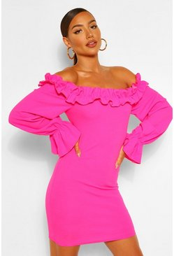 Hot pink pink Rouched Detail Off Shoulder Bodycon Mini Dress