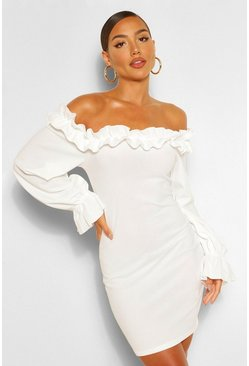 White Rouched Detail Off Shoulder Bodycon Mini Dress