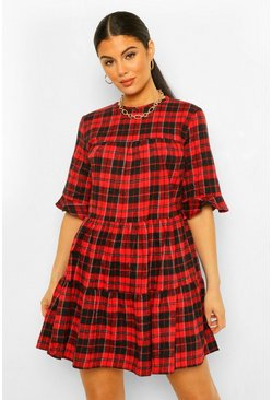 Red Check Print Smock Dress