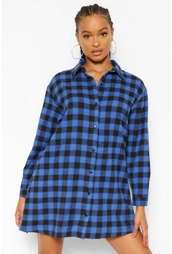 Blue Check Print Shirt Dress