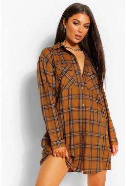 Orange Check Print Shirt Dress