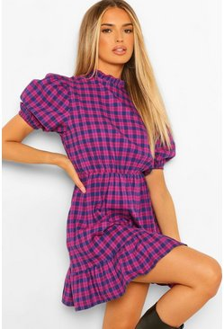 Pink Check Print Puff Sleeve Skater Dress