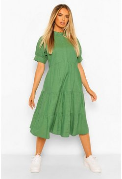 Green Check Print Puff Sleeve Tiered Midi Dress