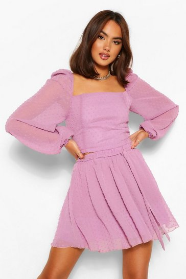 Mauve purple Dobby Mesh Layered Hem Co-ord Skater Skirt