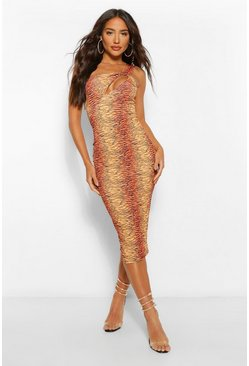 Brown Tiger Print Cut Out Midi Dress
