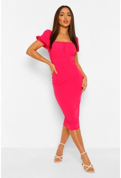 Hot pink Rouched Bust Puff Sleeve Midi Dress