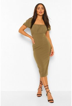 Khaki Rouched Bust Puff Sleeve Midi Dress