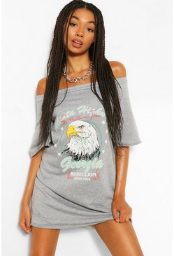 Grey marl grey Band Print Off The Shoulder Slouchy Sweat Dress
