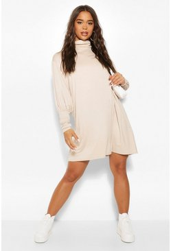 Stone beige Jersey Roll Neck Smock Dress