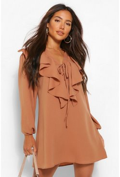 Tan brown Long Sleeve Ruffle Tie Detail Smock Dress