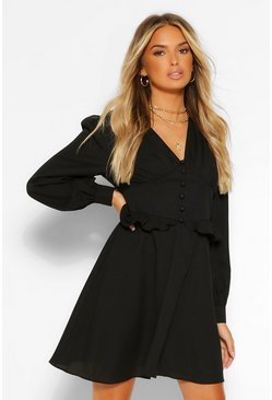 Black Puff Sleeve Button Detsil Skater Dress