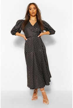 Black Polka Dot Puff Sleeve Midaxi Dress