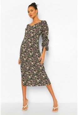 Black Floral Rouched Sleeve Side Split Midaxi Dress