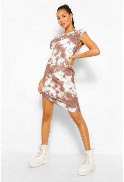 The Tie Dye Shoulder Pad T Shirt Dress, Chocolate