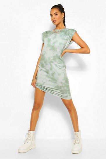 Khaki The Tie Dye Shoulder Pad T Shirt Dress