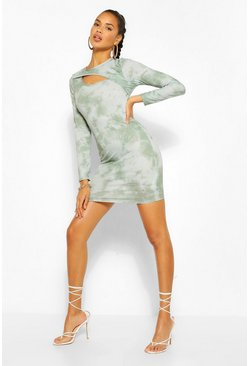The Cut Out Tie Dye Mini Dress, Khaki