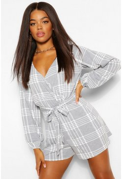 Grey Long Sleeve Belted Check Print Jersey Playsuit