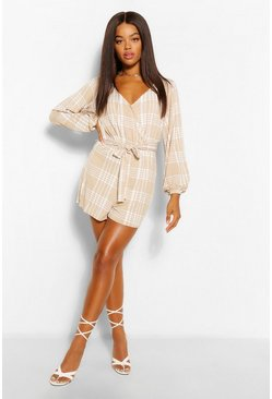 Stone beige Long Sleeve Belted Check Print Jersey Playsuit