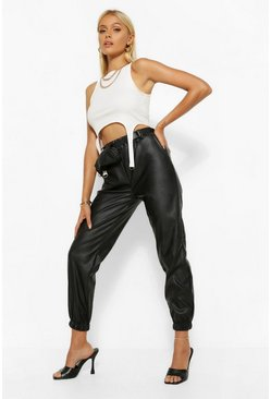 Black Leather Look Jogger Trouser With Belted Bag