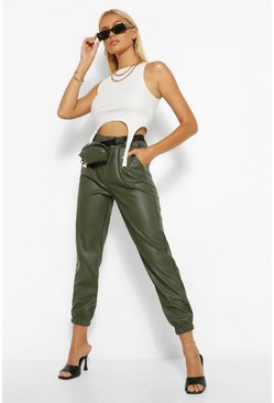 Sage green Leather Look Jogger Trouser With Belted Bag