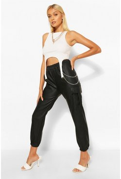 Black Leather Look Chain Detail Cargo Trousers
