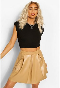 Camel beige Leather Look Pleated Skirt