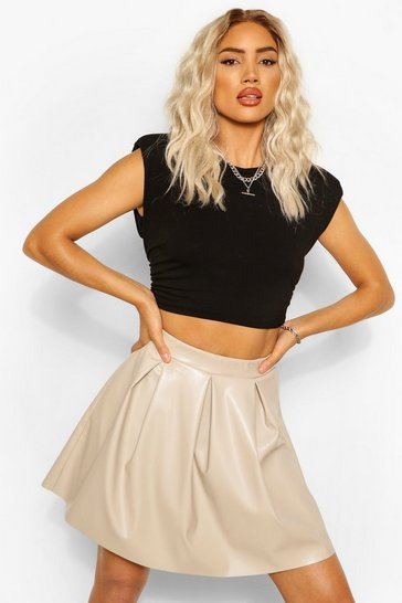 Sand beige Leather Look Pleated Skirt