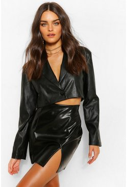 Black Super Stretch Leather Look Split Front Mini Skirt