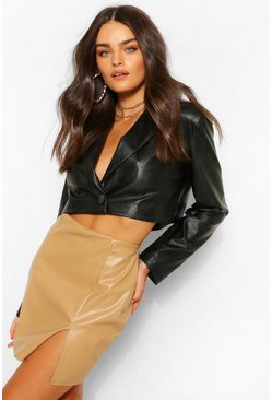 Camel beige Super Stretch Leather Look Split Front Mini Skirt