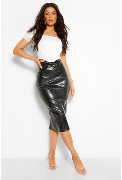 Black Super Stretch Leather Look Midi Skirt