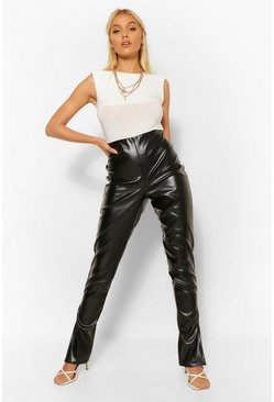 Black Super Stretch Leather Look Split Hem Trouser