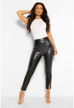 Black Super Stretch Leather Look Split Hem Trousers