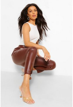 Chocolate brown Super Stretch Leather Look Split Hem Trousers