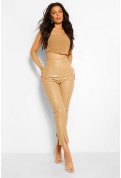 Taupe beige Super Stretch Leather Look Split Hem Trousers