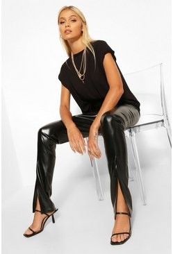 Black Super Stretch Leather Look Split Hem Leggings