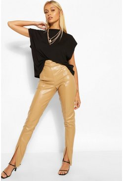 Taupe beige Super Stretch Leather Look  Split Front Leggings