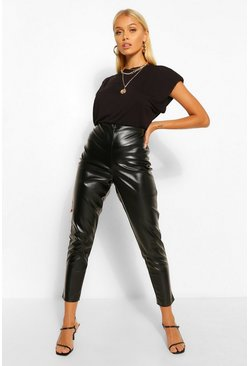 Black Super Stretch Leather Look High Waist Trousers