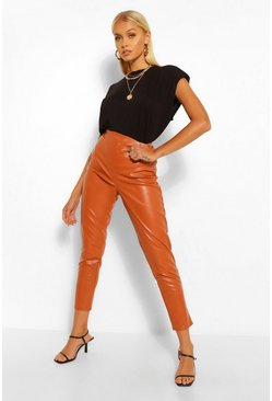 Rust orange Super Stretch Leather Look High Waist Trousers