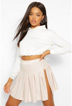 Ecru white Side Split Pleated Loopback Tennis Skirt