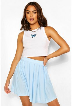 Baby blue blue Pleated Loopback Tennis Skirt