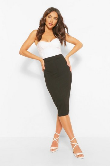 Black Sculpt Seam Longer Length Midi Skirt