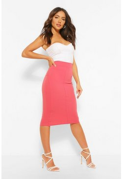 Dusty rose pink Sculpt Seam Longer Length Midi Skirt