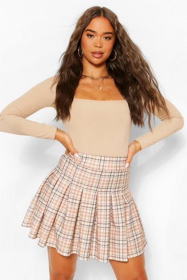 Stone beige Tonal Check Tennis Skirt