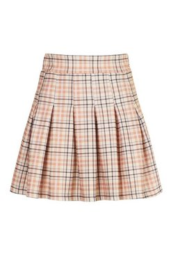 Stone Tonal Check Tennis Skirt