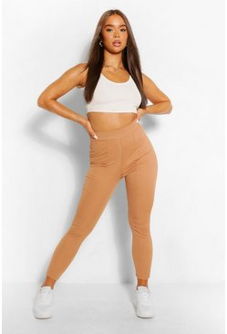 Cashew beige Ribbed Seamed Legging