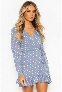 Blue Polka Dot Frill Detail Wrap Playsuit