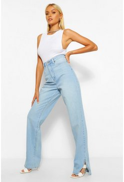 Vintage blue blue Side Split Straight Jeans