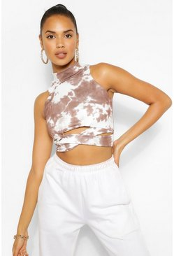 Chocolate brown The Cut Out Tie Dye Crop Top