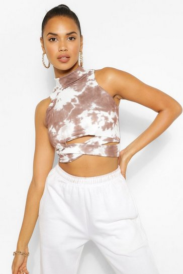 Chocolate brown Brown The Cut Out Tie Dye Crop Top