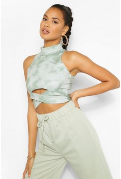 Kaki khaki Tie Dye Cut Out Crop Met Hoge Hals